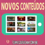 """Foto descrição: Texto """"novos conteúdos"""" e imagem celular acessando o site e com endereço web abaixo."""