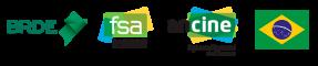 Logo Ancine e FSA e Bandeira do Brasil