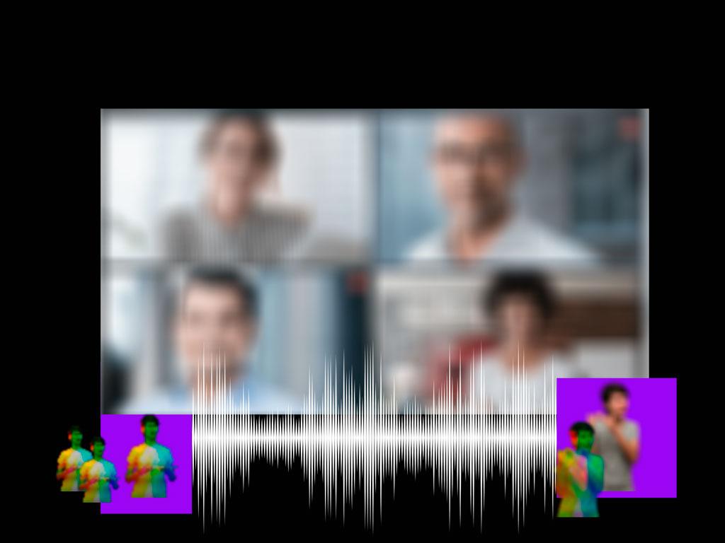 Capa de Post: Quatro rostos fora de foco ocupam uma tela. Embaixo da tela, em fundo preto, duas imagens da mesma tradutora de libras sobrepostas, sobre fundo lilás. Uma onda sonora e mais três imagens sobrepostas da tradutora de libras em tamanhos diferentes.
